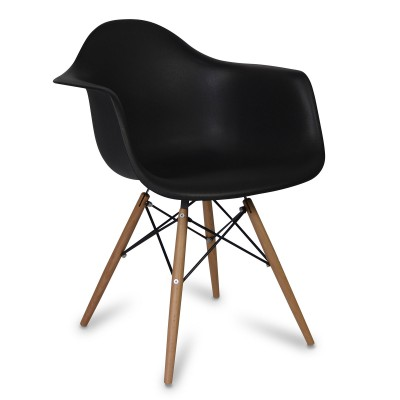Chair Arms Wood Style Black