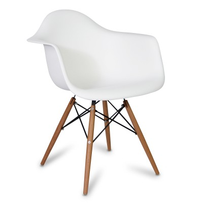 Chaise Arms Wood Style Blanche