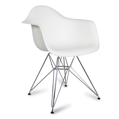 Chair Arms Chrome Style White