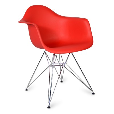 Chaise Arms Chrome Style Rouge