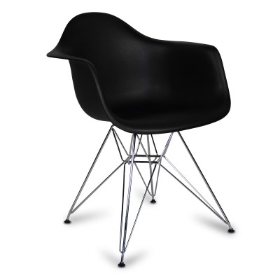Chair Arms Chrome Style Black