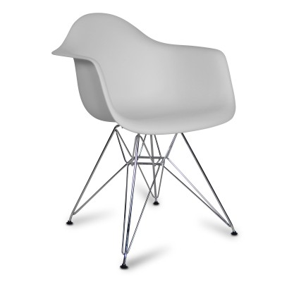 Chair Arms Chrome Style Grey