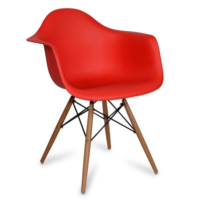 Chair Arms Wood Style Red