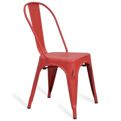 Chaise Lix Style Vintage Rouge Rose