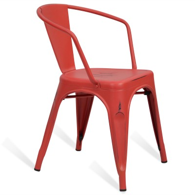 Chaise Lix Arms Style Vintage Rouge