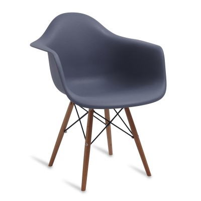 Chair Arms Wood Style Dark Grey
