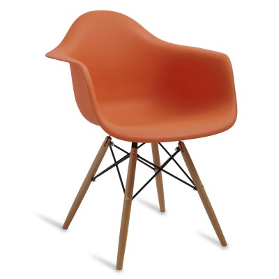 Chair Arms Wood Style Orange