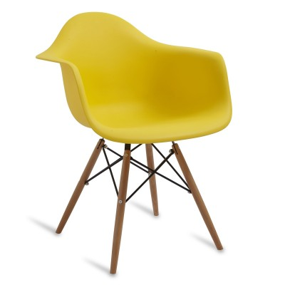 Chair Arms Wood Style Yellow