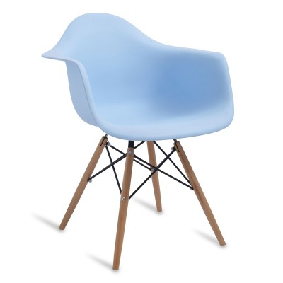 Chair Arms Wood Style Light Blue