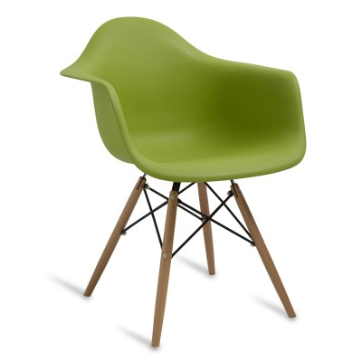 Chair Arms Wood Style Green