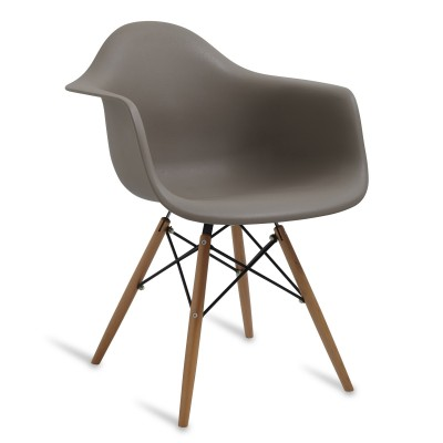 Chair Arms Wood Style Mild Grey
