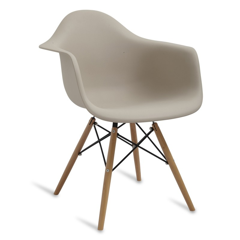 Chair Arms Wood Style Beige