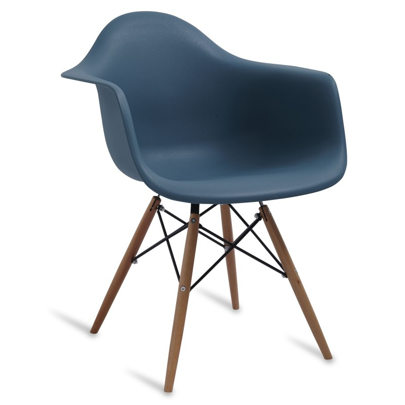 Chair Arms Wood Style Navy Green