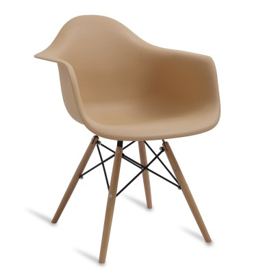 Chair Arms Wood Style Warm Cream