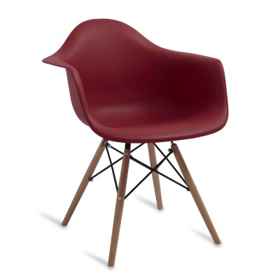 Chaise Arms Wood Style Claret