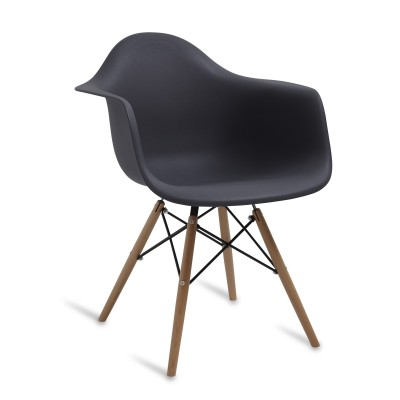 Chair Arms Wood Style Black Grey