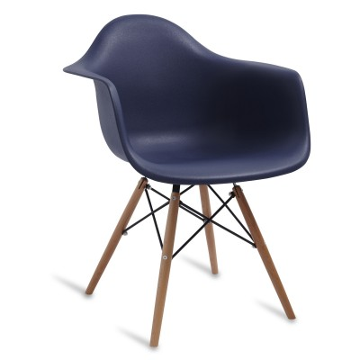 Chair Arms Wood Style Navy Blue
