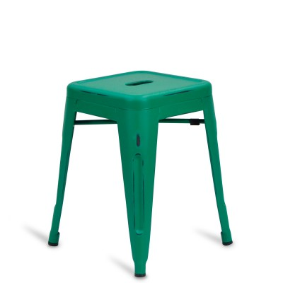 Low Stool of metal Lix Style Brush Green Mint